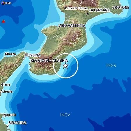 Sequenza di terremoti registrati sulla costa Sud della Calabria