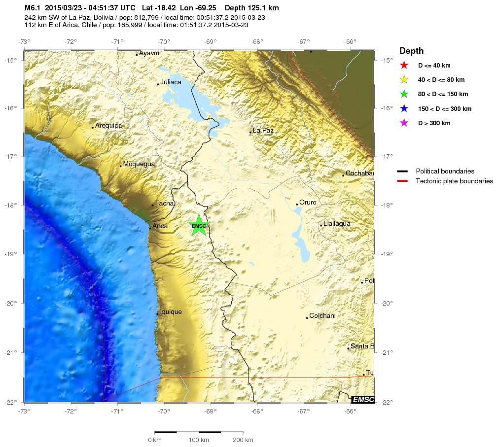 Terremoto in Cile: magnitudo 6.1 della scala Richter, dati EMSC