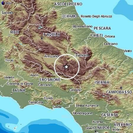 Terremoto Abruzzo, appena avvertita scossa di magnitudo 3.1 Richter, dati INGV