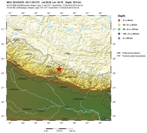 Terremoto Nepal, India e Cina: violenta scossa di magnitudo 7.4 Richter, si temono danni enormi