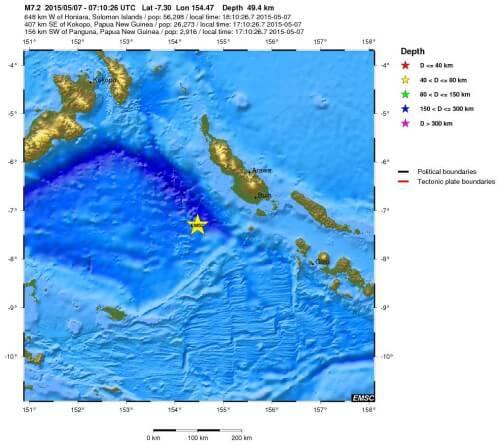 Forte terremoto tra Papua-Nuova Guinea ed Isole Salomone, magnitudo 7.2 Richter