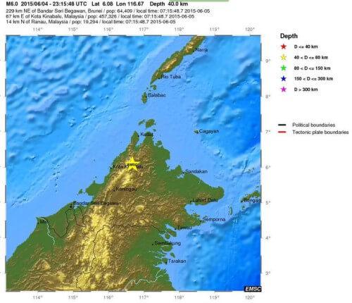 Forte scossa di terremoto in Malesia, magnitudo 6.0 Richter, danni e frane