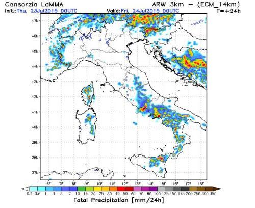 Temporali oggi 23 Luglio 2015 sull'Italia: tra caldo e forte maltempo