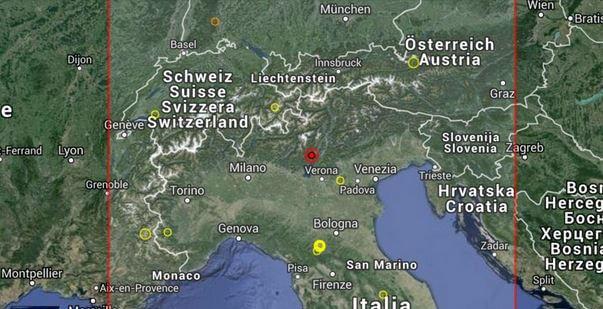 Terremoto Trentino 1 Agosto 2015 scossa magnitudo 3.7 Richter