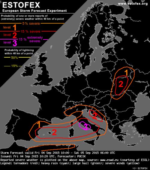 Prossime ore : forti temporali attesi sul Lazio