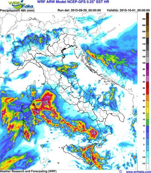 Maltempo sull'Italia, rischio precipitazioni eccezionali su Sicilia e Sardegna nei prossimi due giorni