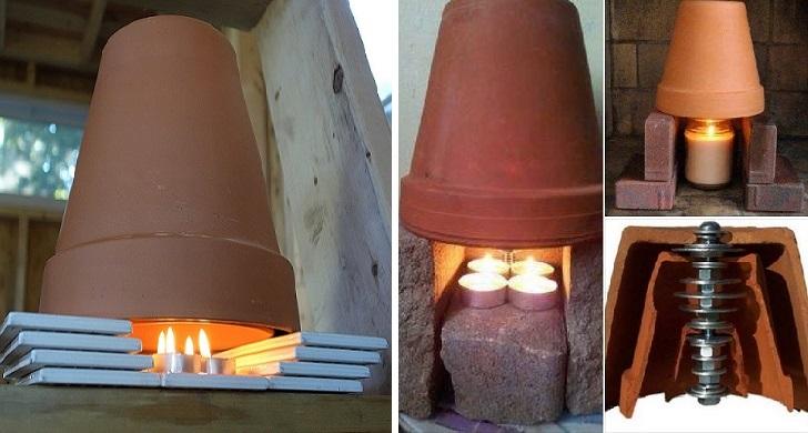 Riscaldamento fai da te in casa: 2 vasi, due candele ed il gioco è fatto