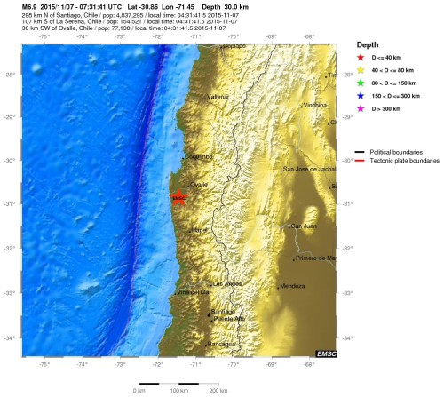 Terremoto Cile: doppia scossa di magnitudo 6.9 – 6.0 Richter, non ci sono vittime