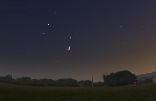 Congiunzione Luna, Marte e Saturno: ecco quando e come osservarla