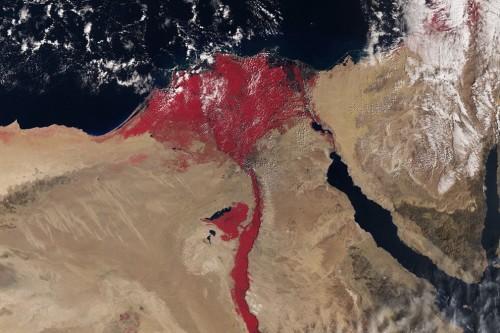 Nilo color rosso sangue: l'immagine dallo spazio di Sentinel-3A