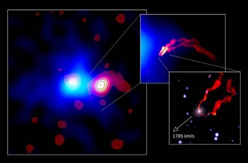 Spazio: la folle corsa del buco nero verso un ammasso di galassie