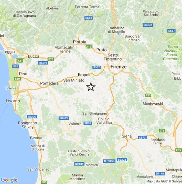 Terremoto Toscana 1 Novembre 2016: scossa magnitudo 3.1 avvertita a Firenze