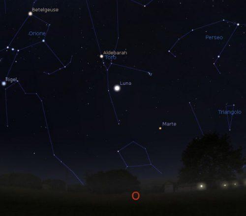Congiunzione Luna Marte: poche ore allo spettacolo