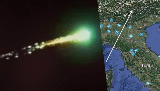 Bolide luminoso sul Centro-Nord Italia, migliaia di segnalazioni