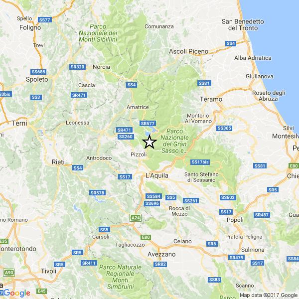 Terremoto Centro Italia 9 Giugno 2017 scossa in Abruzzo