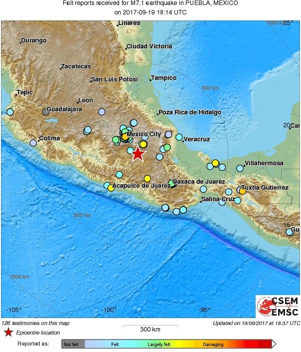 Terremoto Messico, gfortissima scossa vicino la capitale Città del Messico