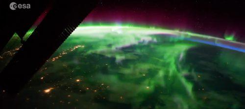 Aurora dallo spazio: il video spettacolare di Nespoli