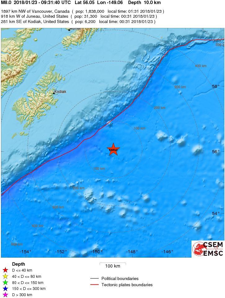 Terremoto Alaska: allarme tsunami nel Pacifico. Magnitudo 8.2 Richter