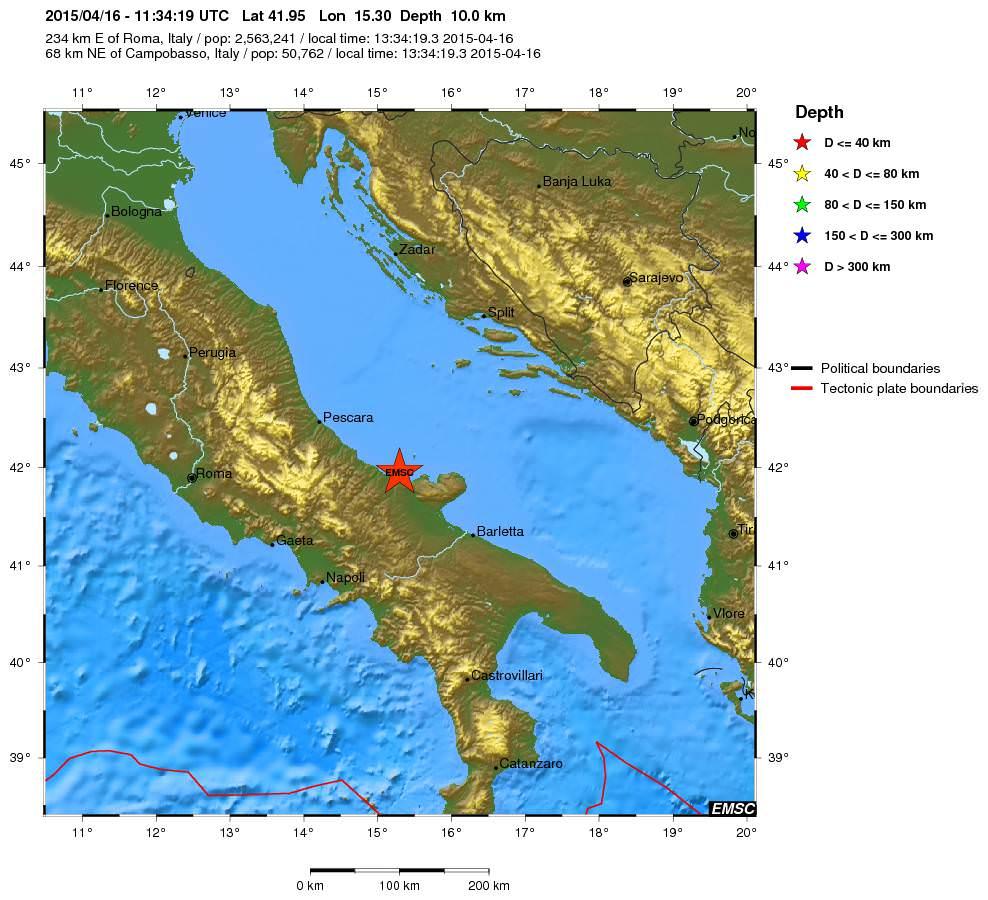 Terremoto oggi Puglia e Molise: registrata scossa di 4.1 della scala Richter