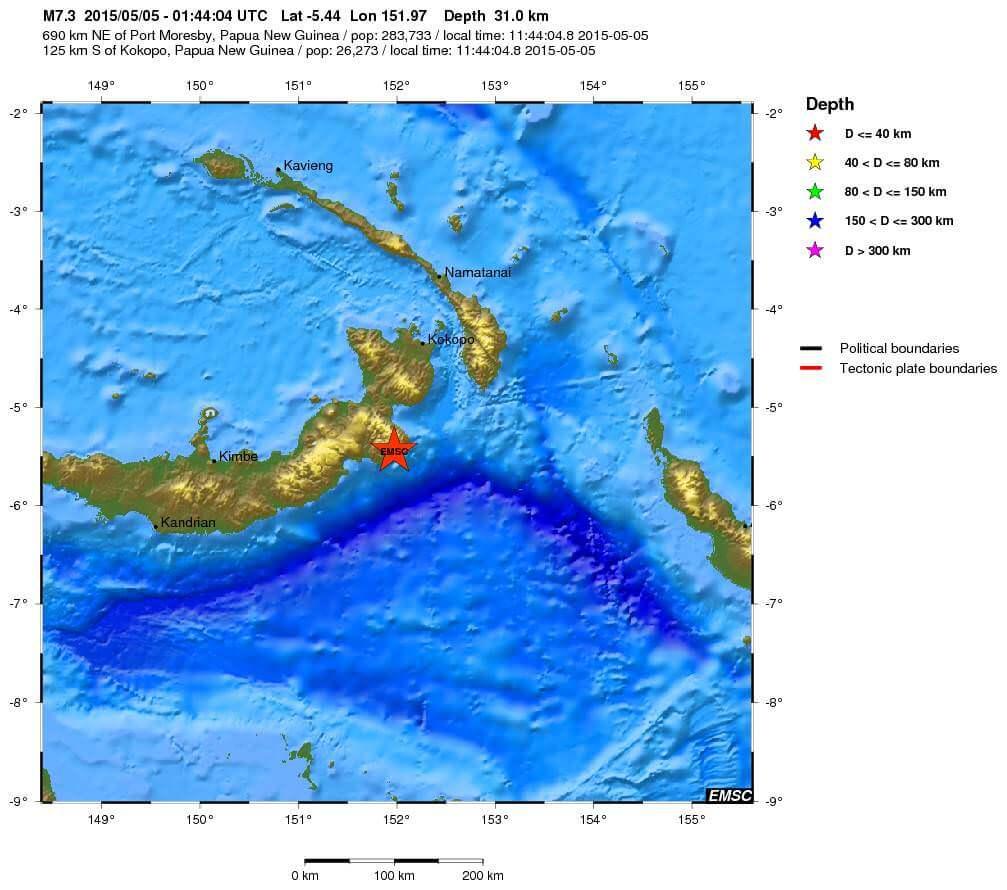 Violento terremoto di magnitudo 7.5 Richter a largo di Papua-Nuova Guinea, emesso allarme tsunami