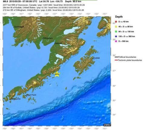 Forte scossa di terremoto in Alaska, magnitudo 6.8 Richter