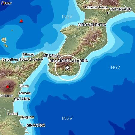 Terremoto nettamente avvertito tra Calabria e Sicilia, magnitudo 3.8 Richter, dati a cura INGV