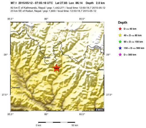 Terremoto Nepal oggi 12 Maggio 2015: nuova violenta scossa di magnitudo 7.4 Richter