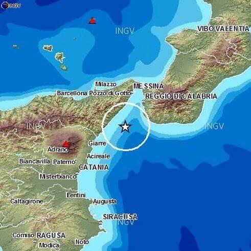 Sequenza sismica nello Stretto di Messina, sei scosse di terremoto in un'ora
