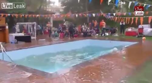 Terremoto Nepal 12 Maggio, il video degli effetti in una piscina