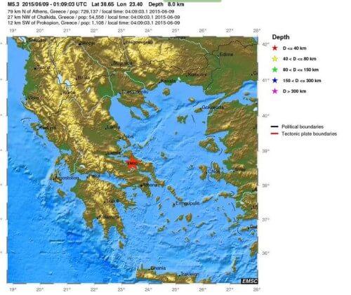 Forte scossa di terremoto in Grecia, magnitudo 5.3 Richter a Nord di Atene