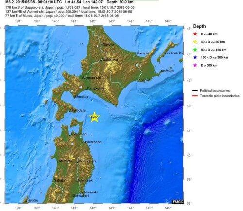 Terremoto in Giappone, forte scossa di magnitudo 6.0 Richter tra Honshu e Hokkaido