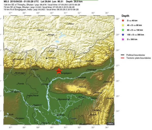 Forte scossa di terremoto tra India, Nepal e Bangladesh, magnitudo di 5.5 della scala Richter