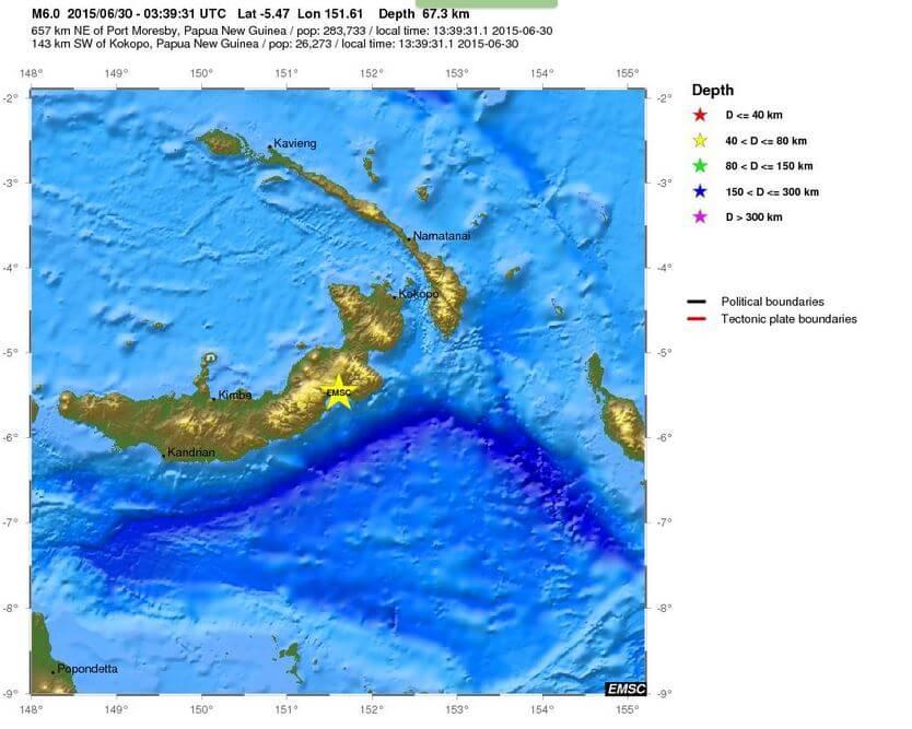 Terremoto Papua Nuova Guinea, intensa scossa di magnitudo 6.0 Richter nella notte