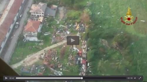 Tromba d'aria in Veneto, immagini della devastazione dall'elicottero