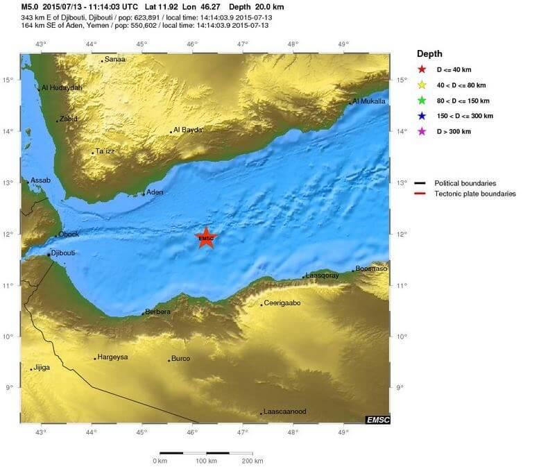 Sciame sismico nel Golfo di Aden, registrate sei intense scosse di terremoto