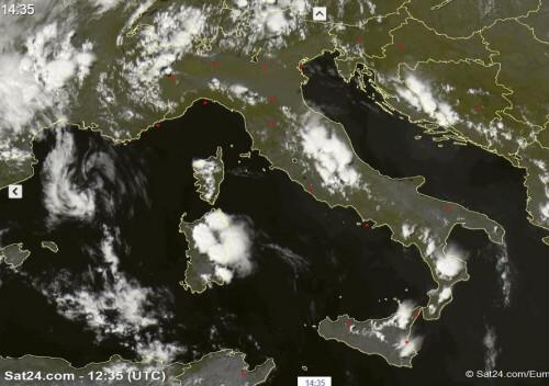 Tempo in atto: forti temporali al Centro-Sud, specie Abruzzo, Sardegna e Calabria