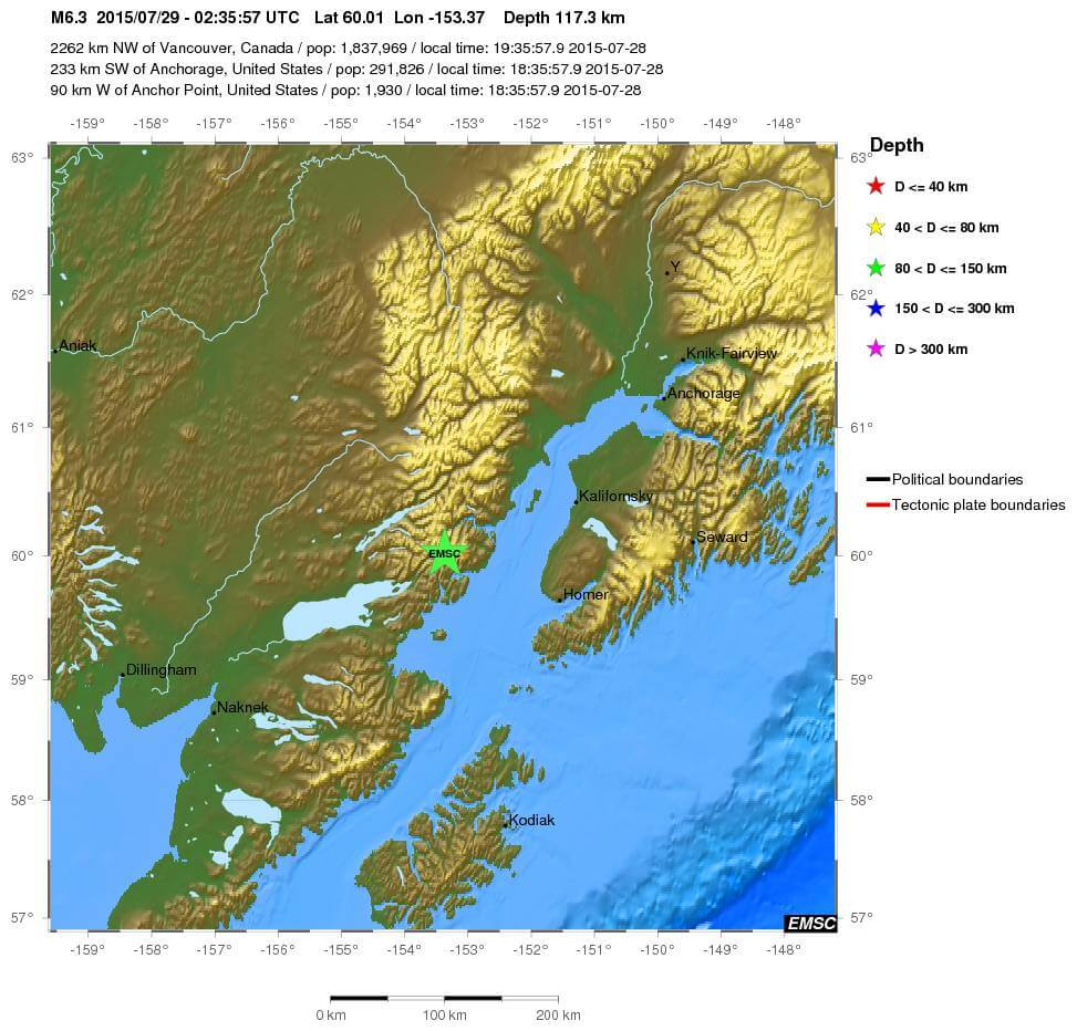 Forte scossa di terremoto in Alaska, magnitudo 6.3 Richter