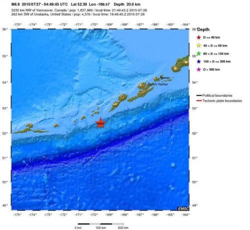 Forte scossa di terremoto di magnitudo 6.9 della scala Richter in Alaska, Isole Auletine