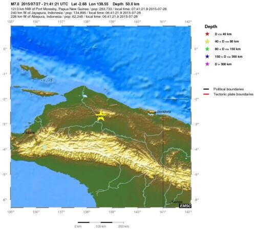 Violenta scossa di terremoto a Papua-Nuova Guinea, magnitudo 7.0 della scala Richter