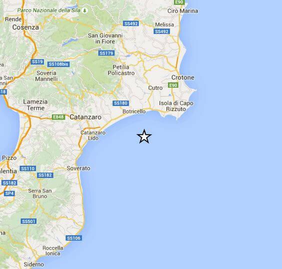 Scossa di terremoto a largo della Calabria, magnitudo 3.1 Richter