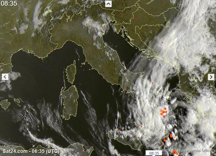 Possibile ciclone mediterraneo in formazione sul Mar Ionio