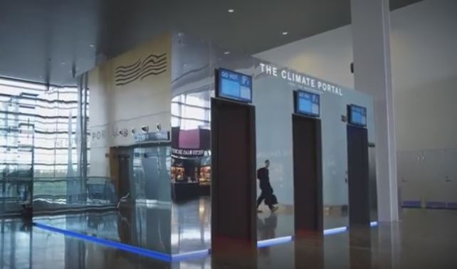 Simulatore di clima all'aeroporto di Stoccolma, particolare servizio meteo