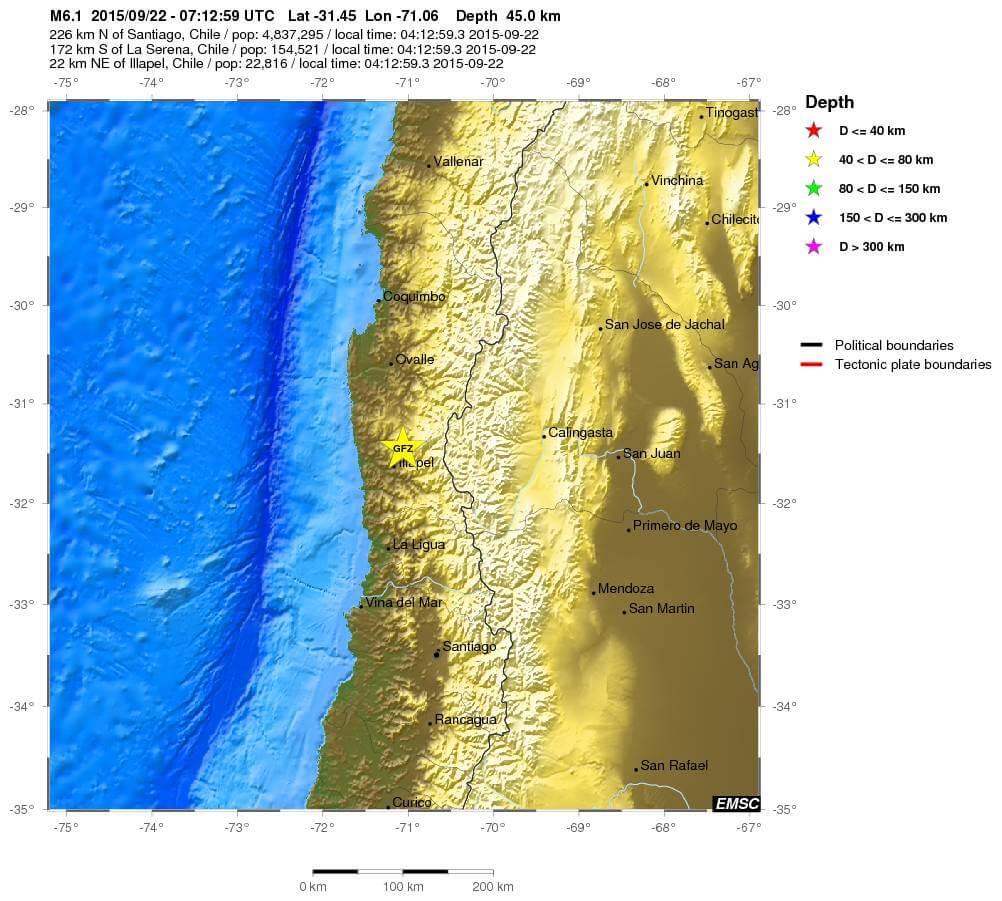 Terremoto in Cile, nuova forte scossa di magnitudo 6.1 Richter