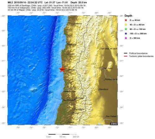 Mappa della zona colpita dal terremoto di oggi in Cile