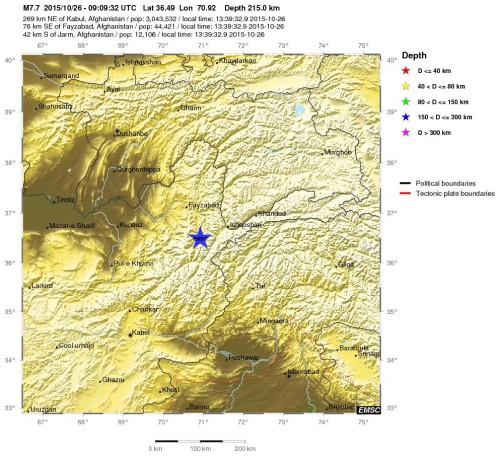 Terremoto Asia, violentissima scossa magnitudo 7.7 Richter Afghanistan, si teme disastro