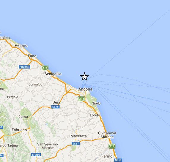 Terremoto Ancona, scossa distintamente avvertita nelle Marche, magnitudo 2.9 Richter