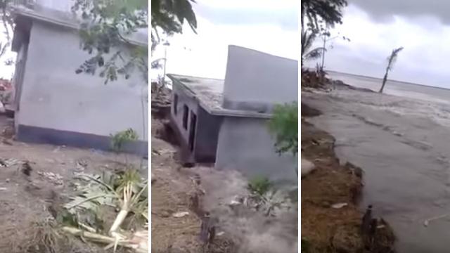 Bangladesh: una casa in cemento, costruita su una dolina, scompare avvolta dalle onde