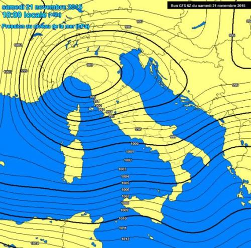 Pressione in crollo sull'Italia, è l'effetto della perturbazione numero Due di Novembre