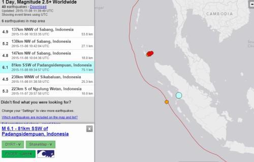 Terremoto Indonesia oggi 8 Novembre 2015: forte scossa di M 6.1 Richter a Sumatra