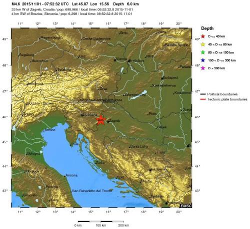 Terremoto in Slovenia oggi 1 Novembre 2015, magnitudo 4.6 Richter